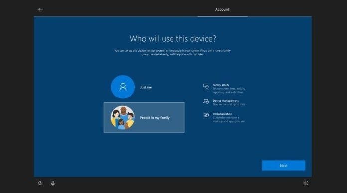 Windows 10 Setup Family in my group option