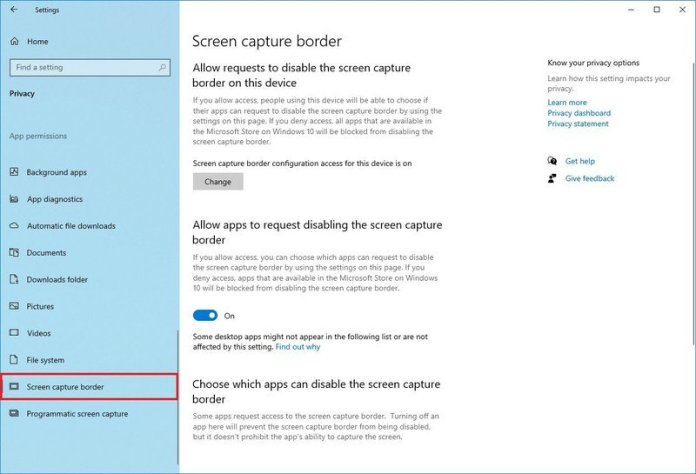 Screen Capture Border privacy settings