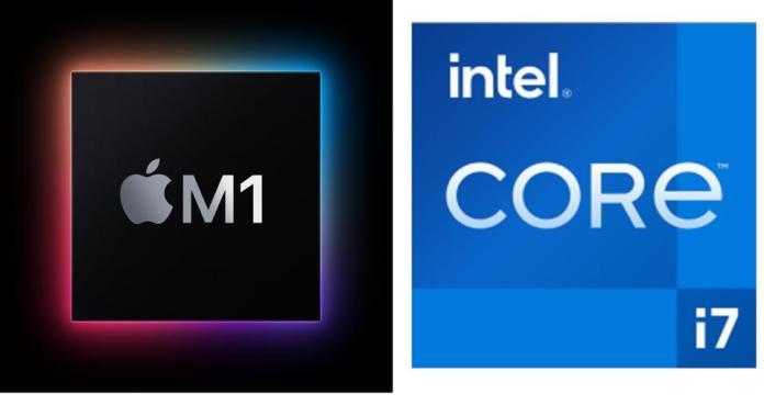 Apple M1 processor vs Intel Core i7 'Tiger Lake.'
