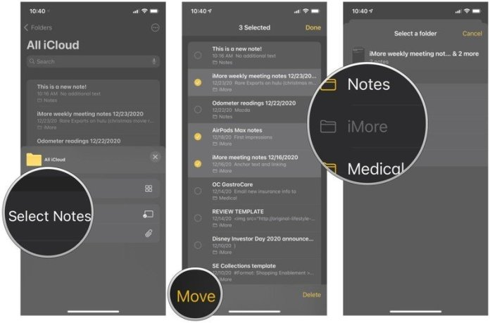 """How to move a note to a new folder in Notes on iPhone and iPad by showing steps: tap """"Select Notes,"""" tap on the notes you want to move, then tap Move, and select the new folder"""