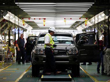 A Toyota Tacoma truck waited to come off the final inspection line at the Toyota Manufacturing Plant in San Antonio in 2010. (AP Photo/San Antonio Express-News, Lisa Krantz)