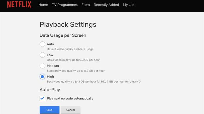 Playback settings Netflix