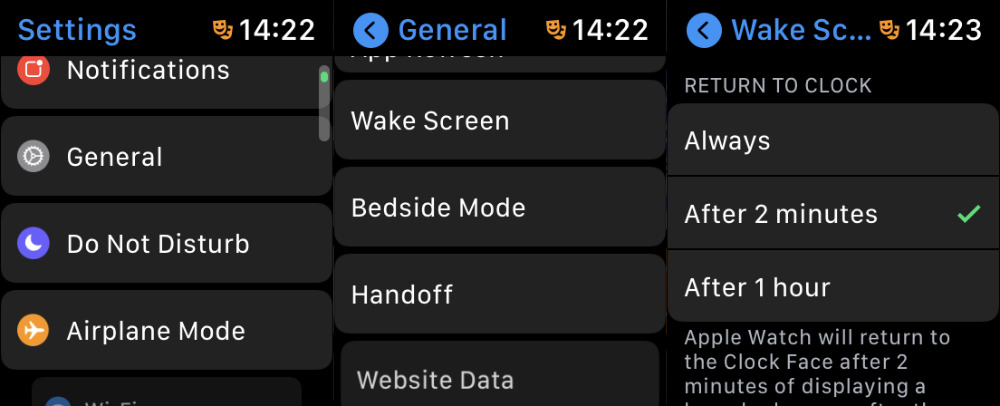Change how fast the Watch reverts to showing you a face instead of an app