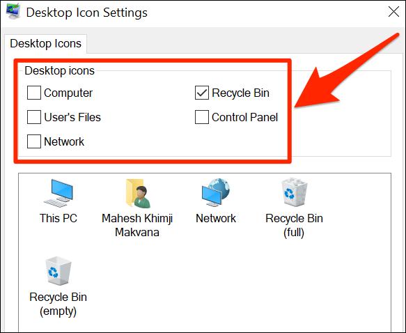 Desktop Icon Settings window