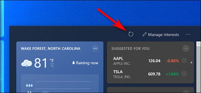 In the Windows 10 News Widget, click the reload button (which looks like an arrow bent into a circle).