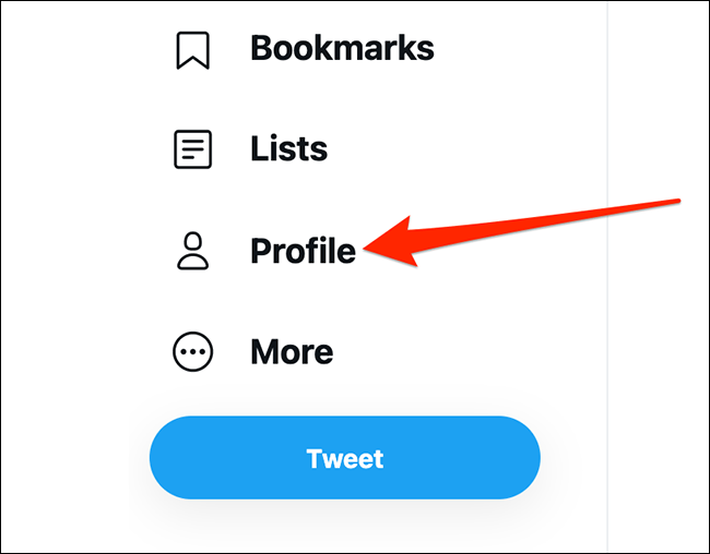"""Click """"Profile"""" on Twitter."""