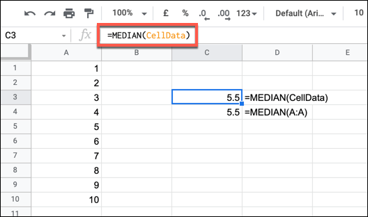 An example MEDIAN formula using a named range.