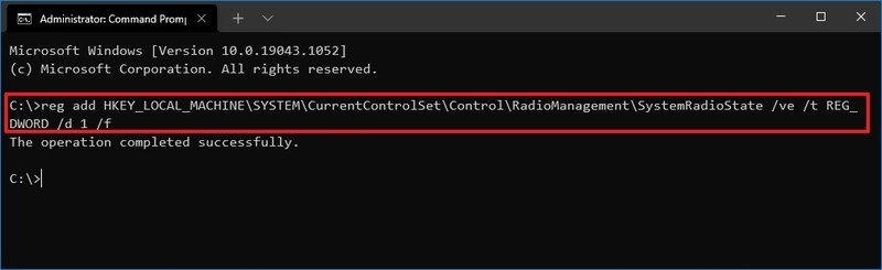 Enable Airplane mode via Command Prompt