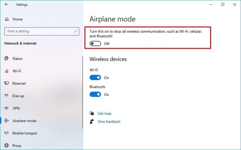 Windows 10 disable Airplane mode via Settings