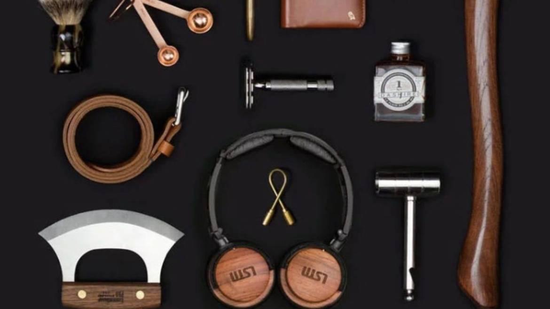 accessories like headphones, tie, and hammer in Bespoke Post