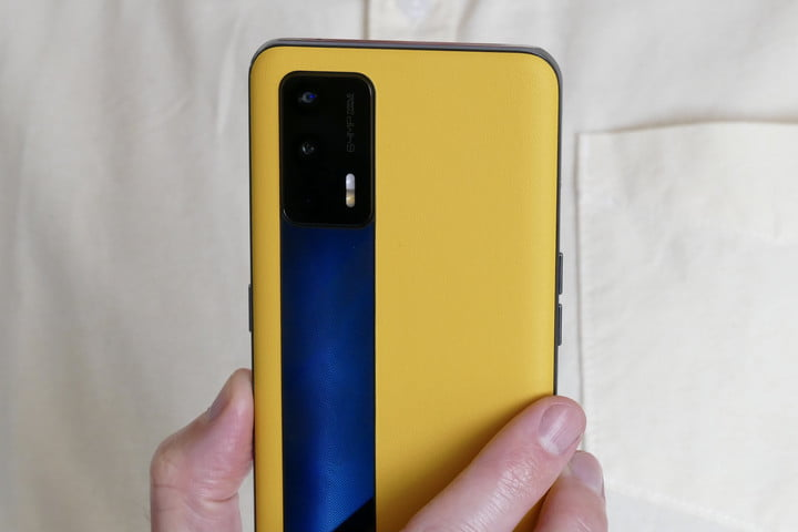 Realme GT yellow and black back close up