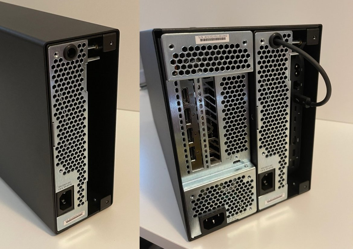 The rear of both desktop enclosures filled with enclosures. The entire back panel of the Mac mini is easily accessible once installed in its module.