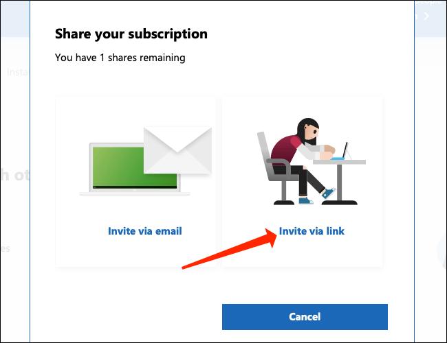 "Click ""Invite via link"" to generate an invite link."