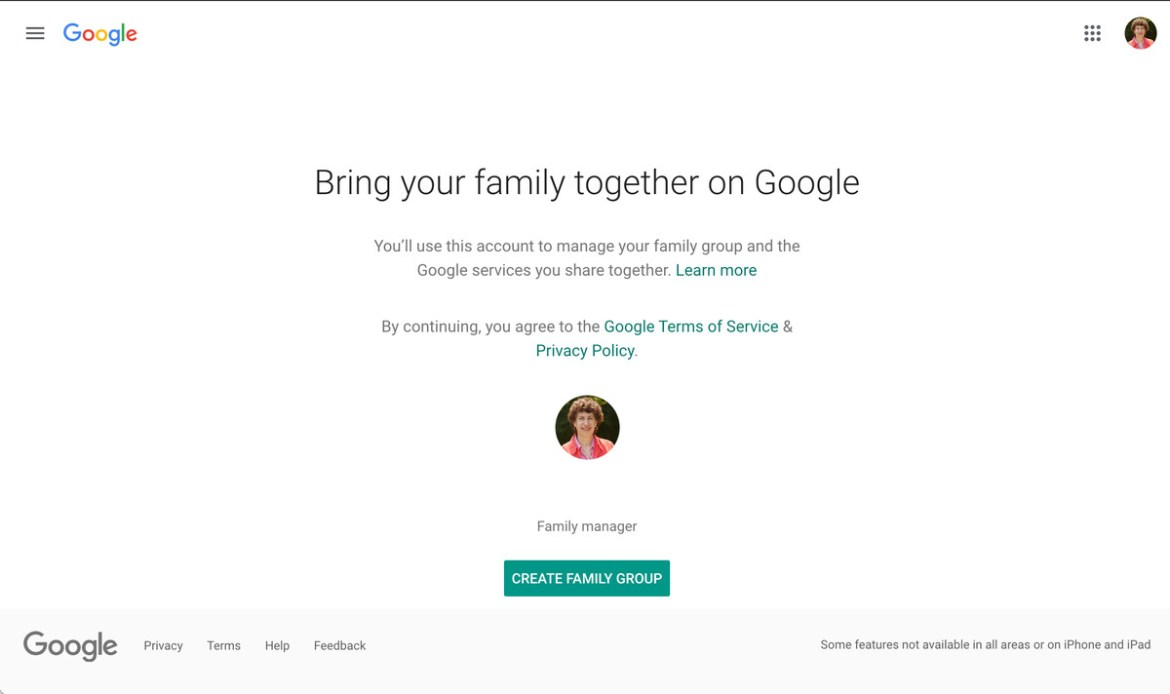 In order to share storage space, you have to first create a family group.