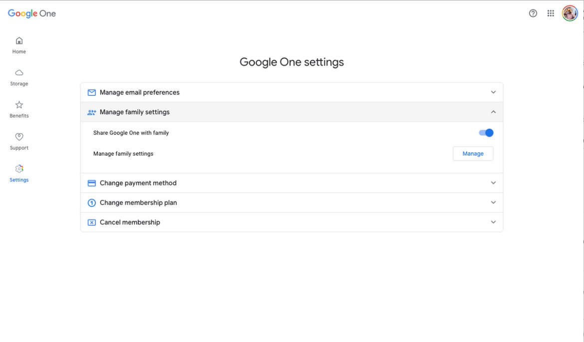 """To enable shared storage, go to settings and look for """"Share Google One with family."""""""