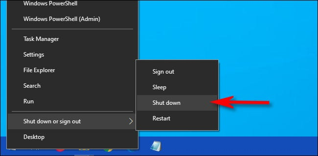 """Right-click the Start menu, then select """"Shut-Down or Sign Out,"""" then pick """"Shut Down."""""""