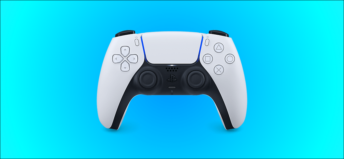 Sony's DualSense controller for the PS5 against a teal background
