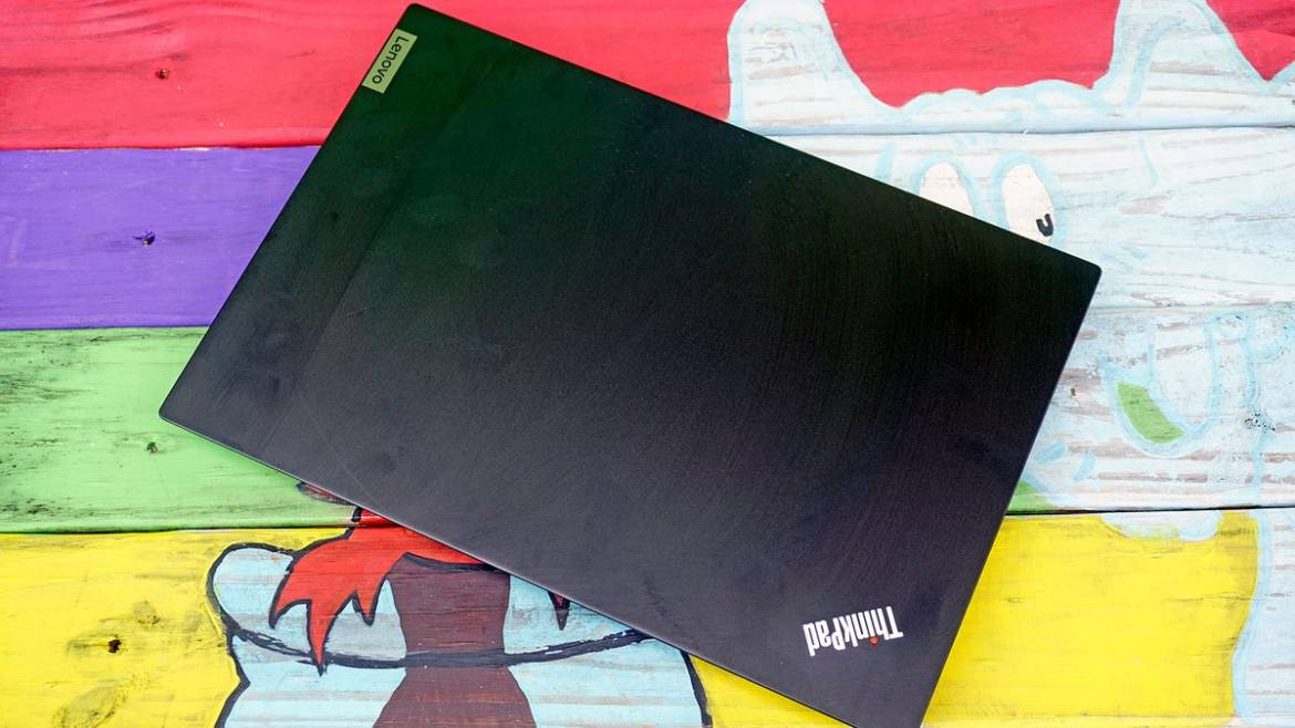 ThinkPad E14 closed on colorful bench