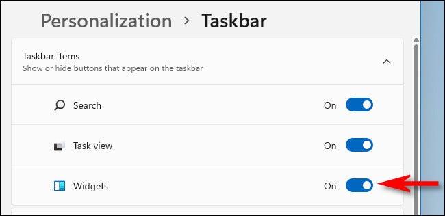 You can turn off or turn on the Windows 11 Widgets taskbar button in Settings > Personalization > Taskbar.