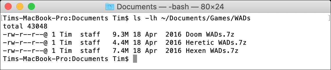 ls macOS Terminal Command