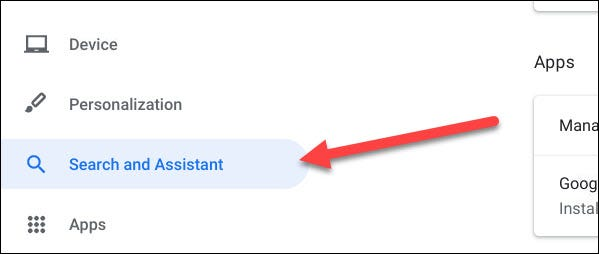 """Select """"Search and Assistant"""""""