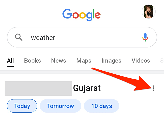 Open the three-dots menu for the weather card in Google.