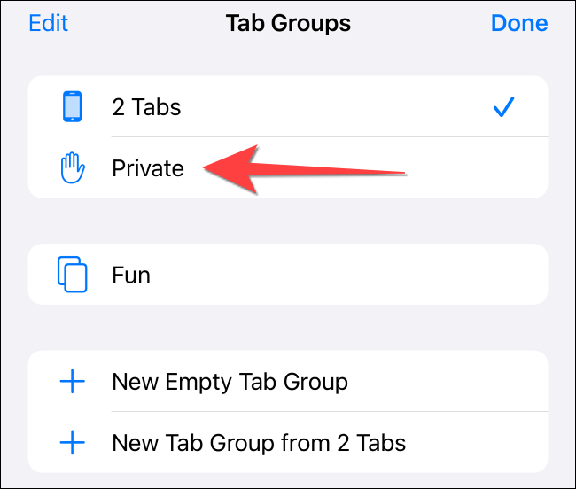"""Select """"Private"""" option from the menu that pops up."""
