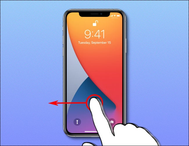 On your iPhone home screen, swipe to the left to launch the Camera app.