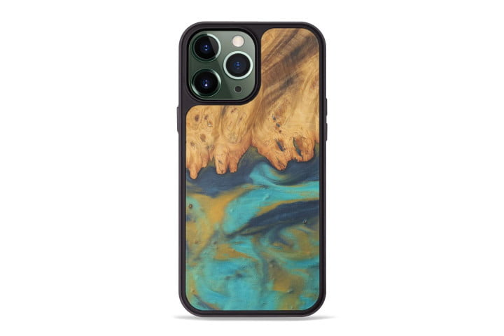 Carved Majid Case in teal, gold, and brown for the iPhone 13 Pro Max.