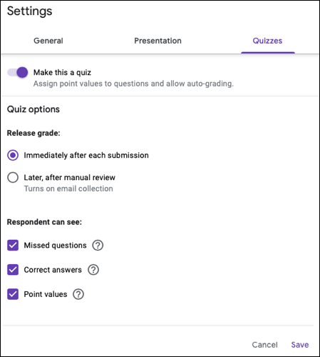Settings for quizzes