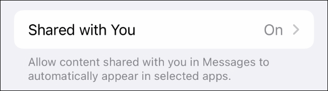 Enabling Shared With You in Messages settings.