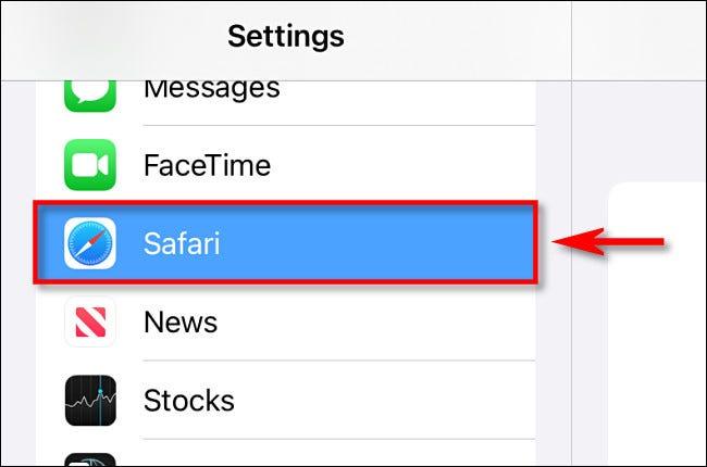 """In iPad Settings, tap """"Safari."""""""