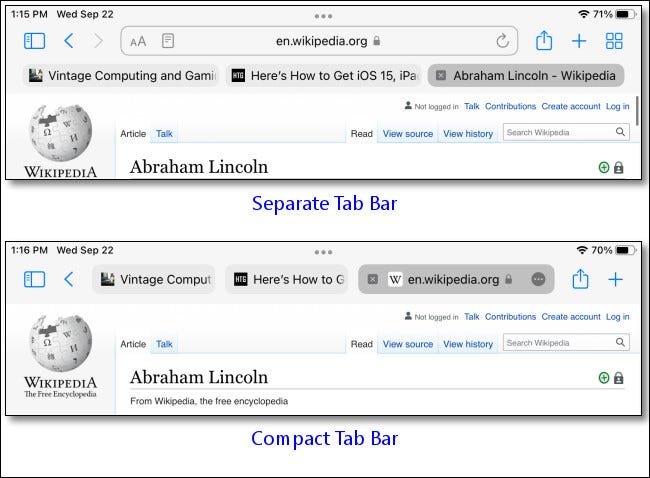 """An example of the """"Separate Tab Bar"""" vs. the """"Compact Tab Bar."""""""