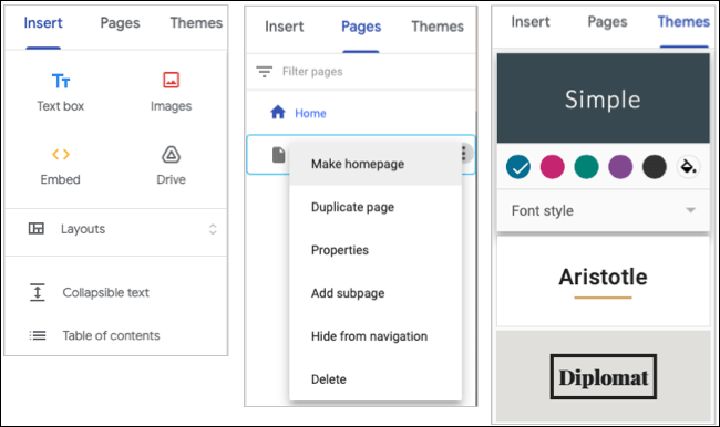 Insert, Pages, and Themes tabs