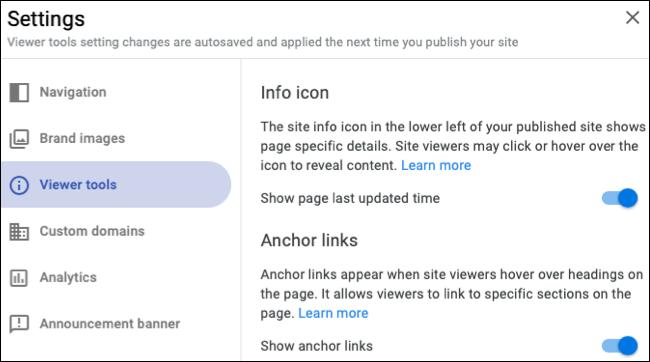 Adjust the site settings