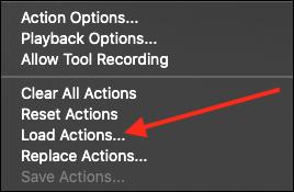 Click Load Actions in the drop down menu.