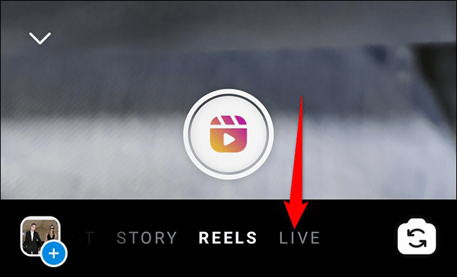 """Tap """"Live"""" on the """"Your Story"""" screen in Instagram."""