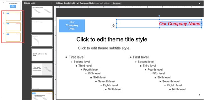 Example of editing a template slide