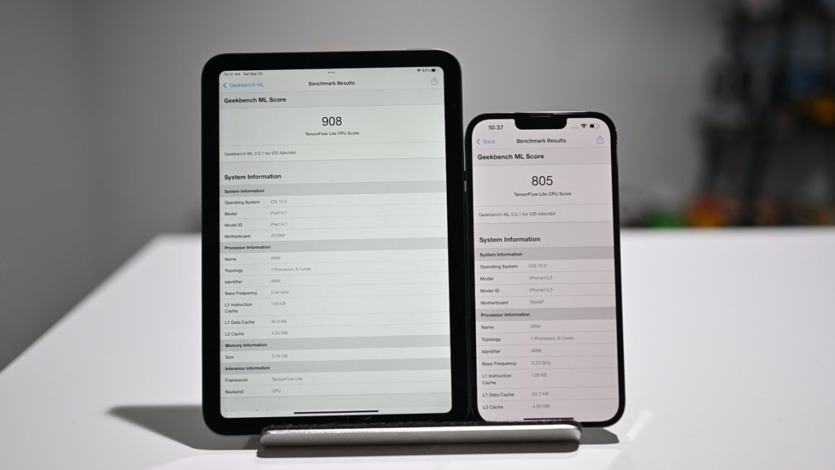 Geekbench ML results on the new iPad mini and iPhone 13 Pro Max