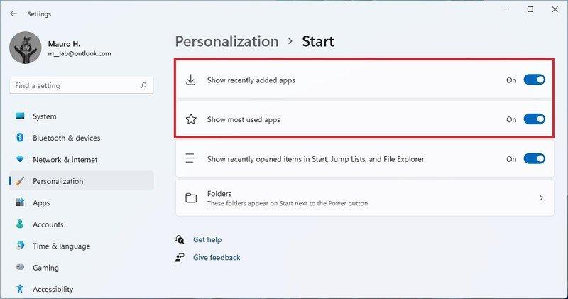 Start settings page