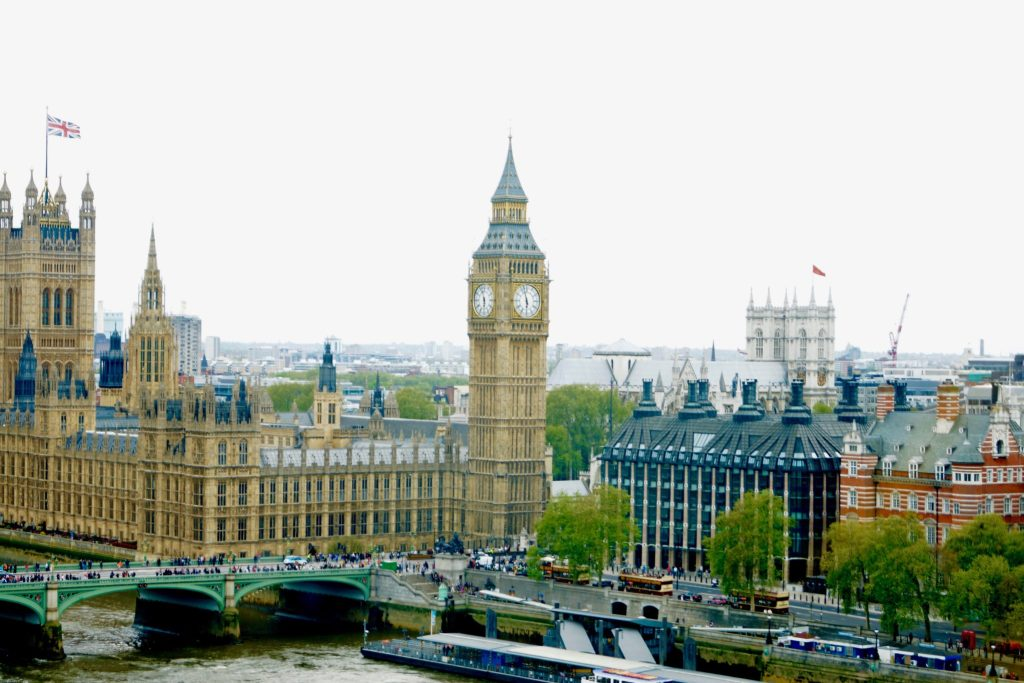 View of Big Ben and House of Parliament from the London Eye