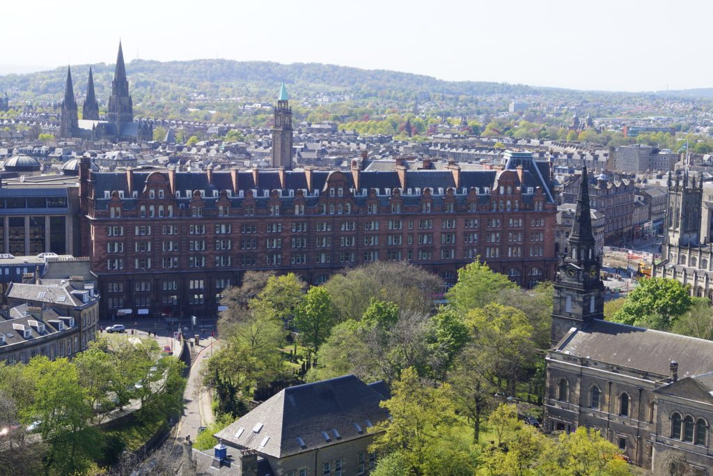 View of Caledonian Hotel from Edinburgh Castle