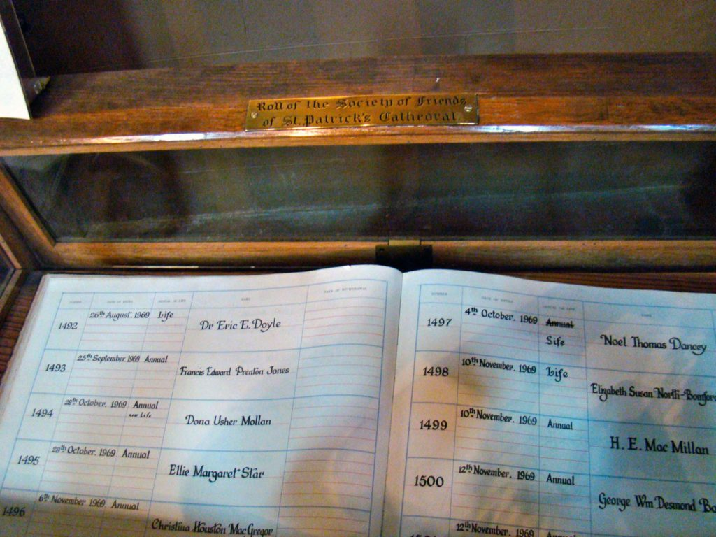Roll of the Society of Friends of St. Patrick's Cathedral Dublin