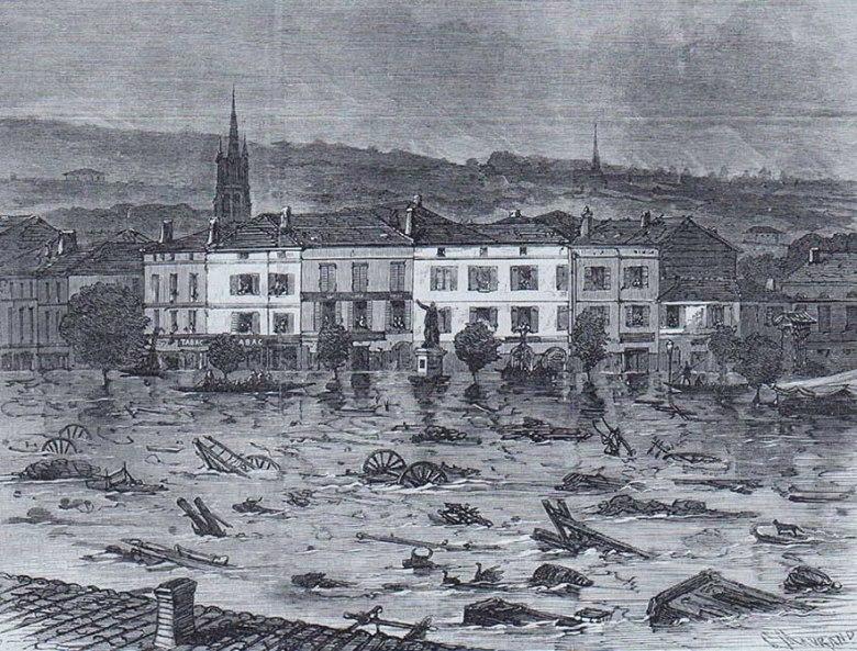 Gravure-Porte Saint Antoine crue le 25 juin 1875