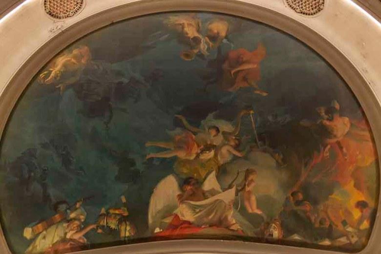 Théâtre Ducourneau allégorie de la musique au plafond par le peintre Antoine Calbet