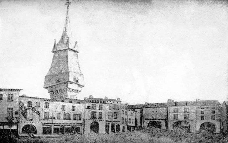 Clocher Cathédrale Saint Etienne et Cornieres de la place des Laitiers Agen 1814