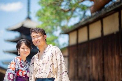 浴衣で京都を散策したカップルの撮影サンプル写真
