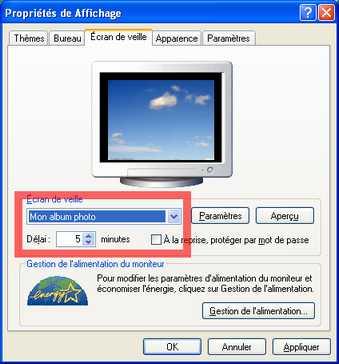 Ecran de veille et diaporama Windows