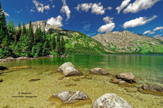 Sur la rive du Jenny Lake, dans le parc national de Grand Teton (Wyoming, USA)
