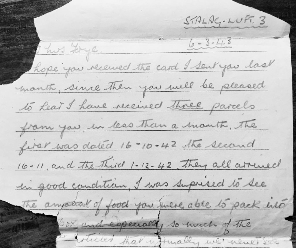 Letter from POW 89 - J.V Foster